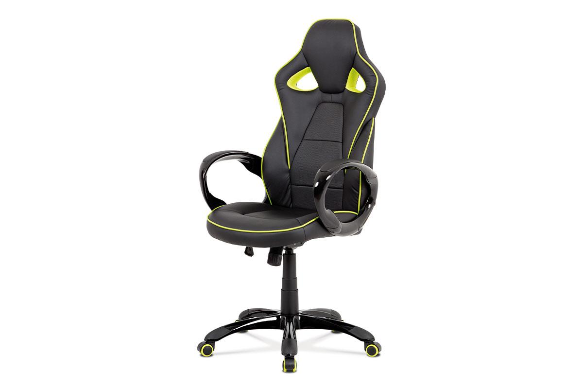 Autronic - Kancelářská židle, černá-zelená ekokůže, houpací mech, plastový kříž - KA-E812 GRN
