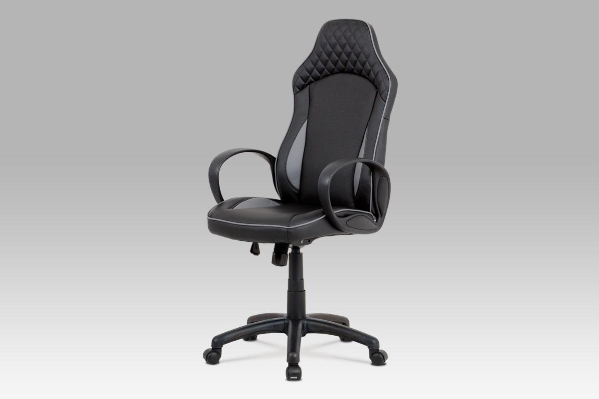Autronic - Kancelářská židle, černá-šedá ekokůže, houpací mech, plastový kříž - KA-E823 GREY