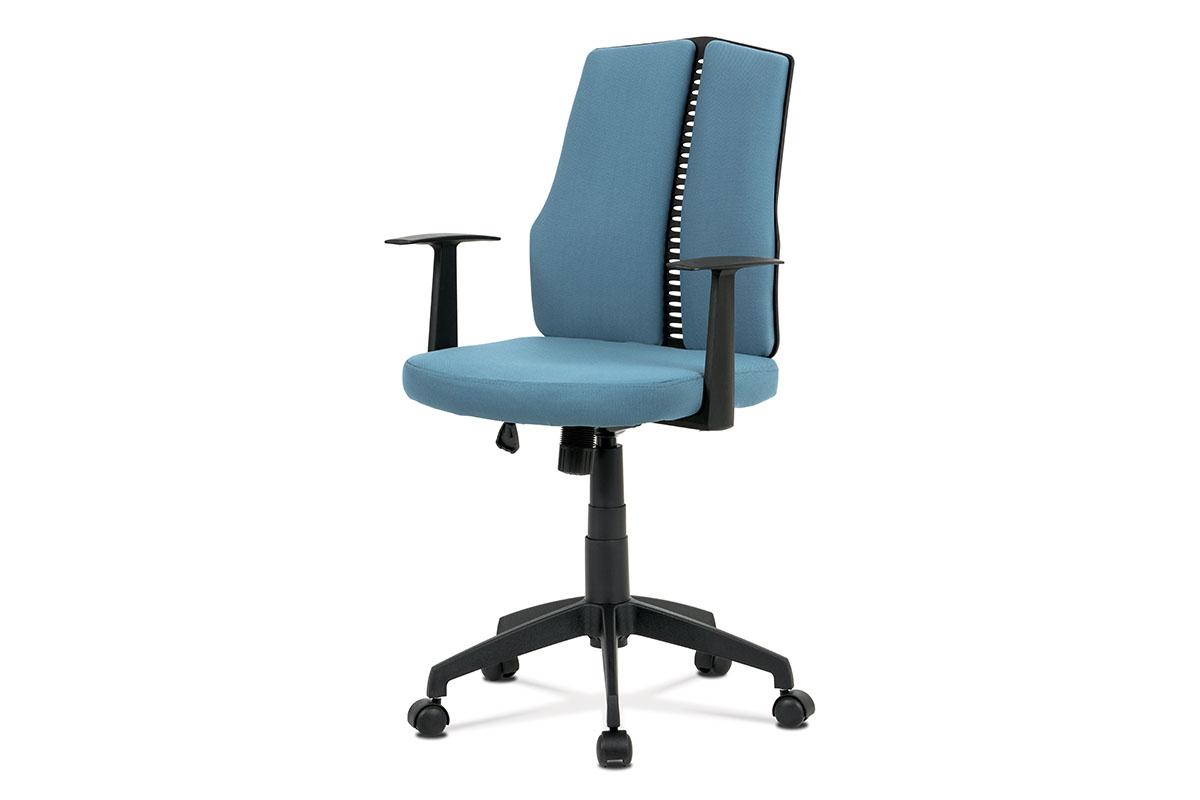 Autronic - Kancelářská židle, látka modrá, houpací mechanismus, kříž plast černý, plastová kolečka - KA-E826 BLUE