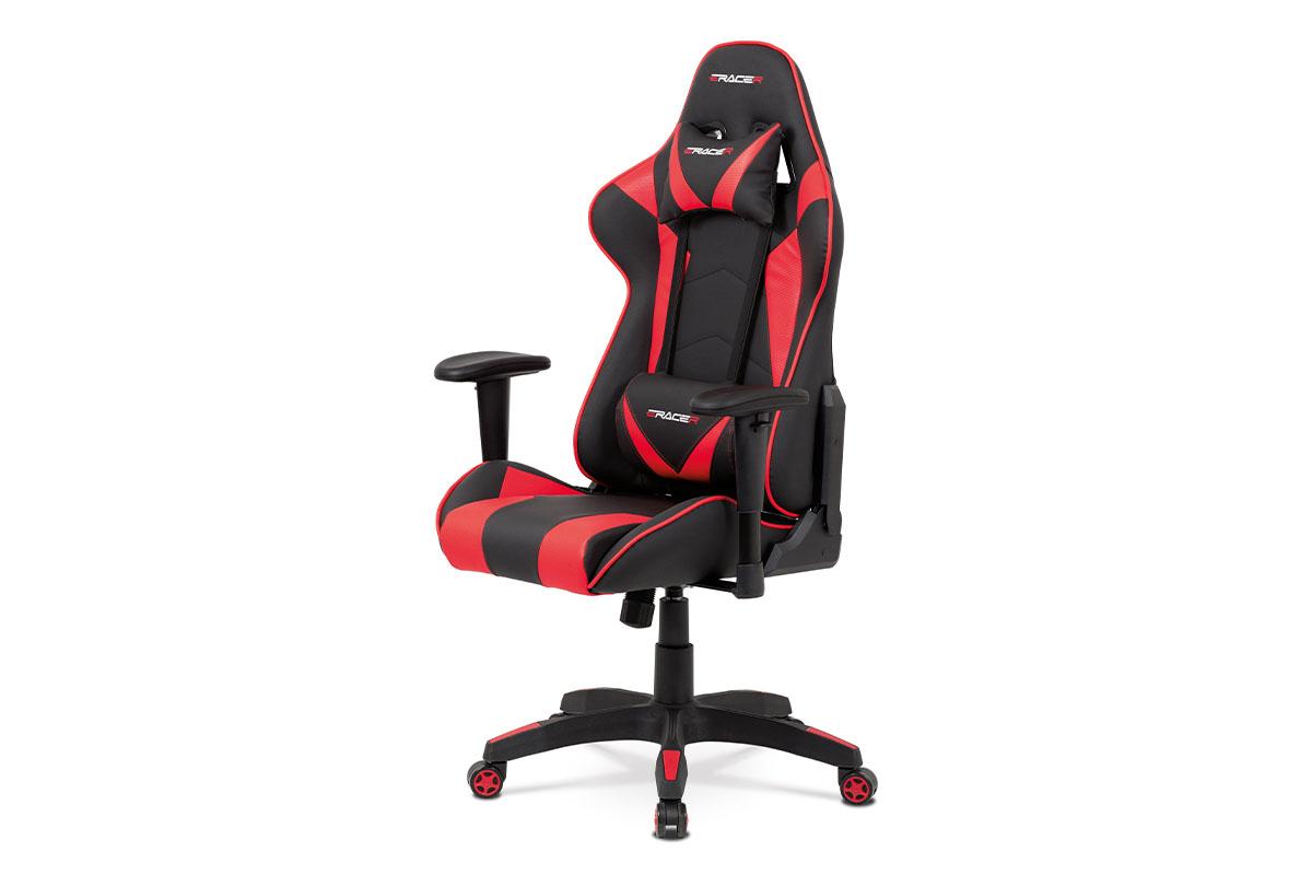 Autronic - Kancelářská židle houpací mech., černá + červená koženka, plast. kříž - KA-F03 RED