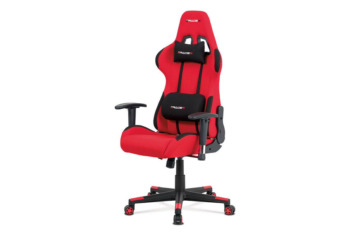 Autronic - Kancelářská židle, červená látka, houpací mech., plastový kříž - KA-F05 RED