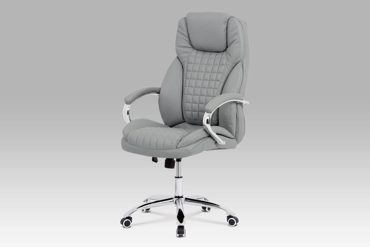 Autronic - Kancelářská židle, šedá ekokůže, chrom kříž, houpací mechanismus - KA-G194 GREY