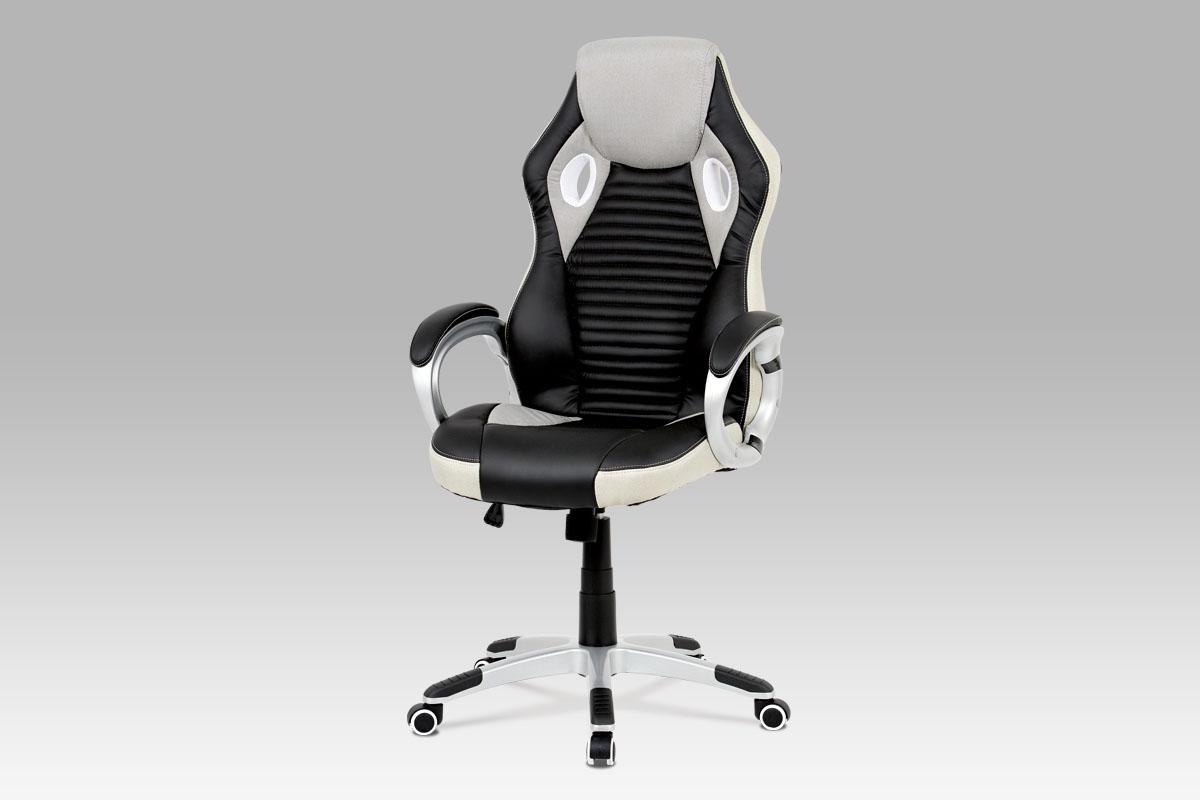 Autronic - Kancelářská židle, houpací mech., šedá látka + černá koženka, plast. kříž - KA-G277 GREY