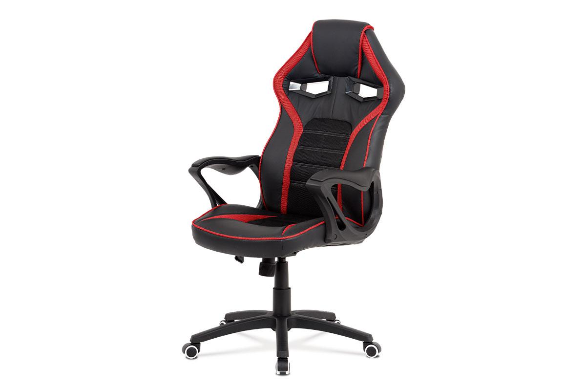 Kancelářská židle, potah černá ekokůže, černá a červená látka MESH, černý plastový kříž, houpací mechanismus