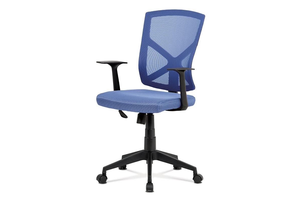 Kancelářská židle, modrá MESH+síťovina, plastový kříž, houpací mechanismus
