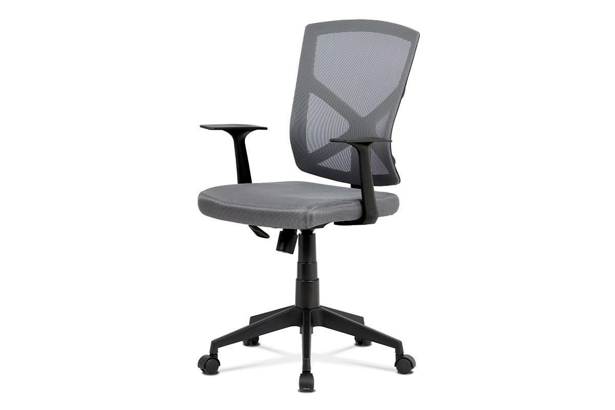 Kancelářská židle, šedá MESH+síťovina, plastový kříž, houpací mechanismus