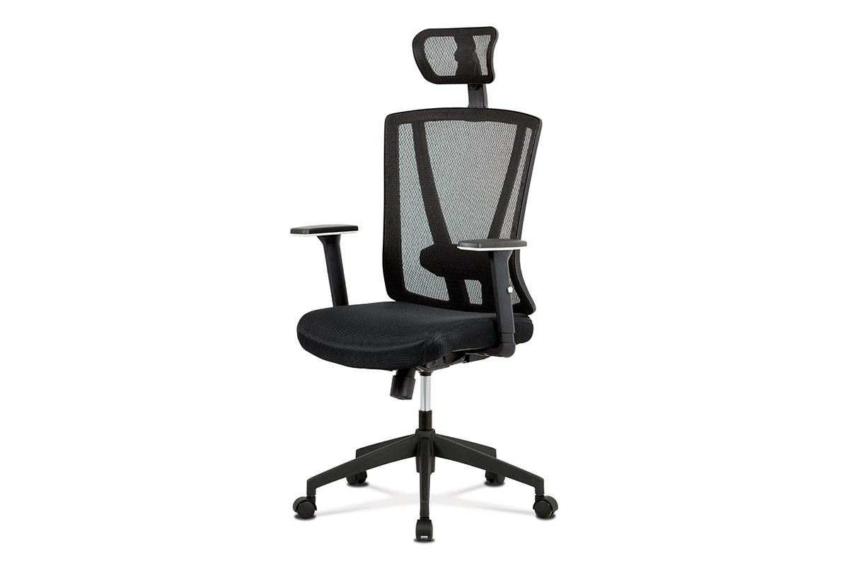Kancelářská židle, černá MESH+síťovina, plastový kříž, synchronní mechanismus