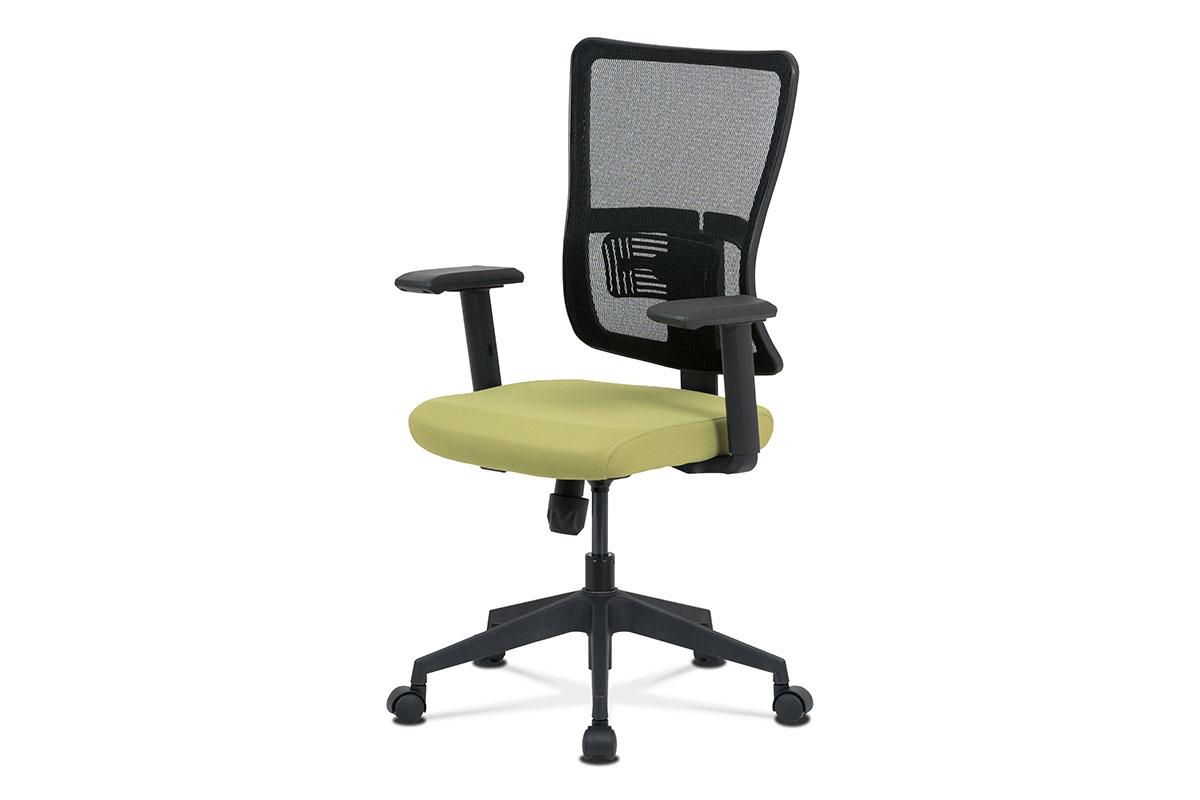 Kancelářská židle, zelená látka+černá síťovina, houpací mech., plastový kříž