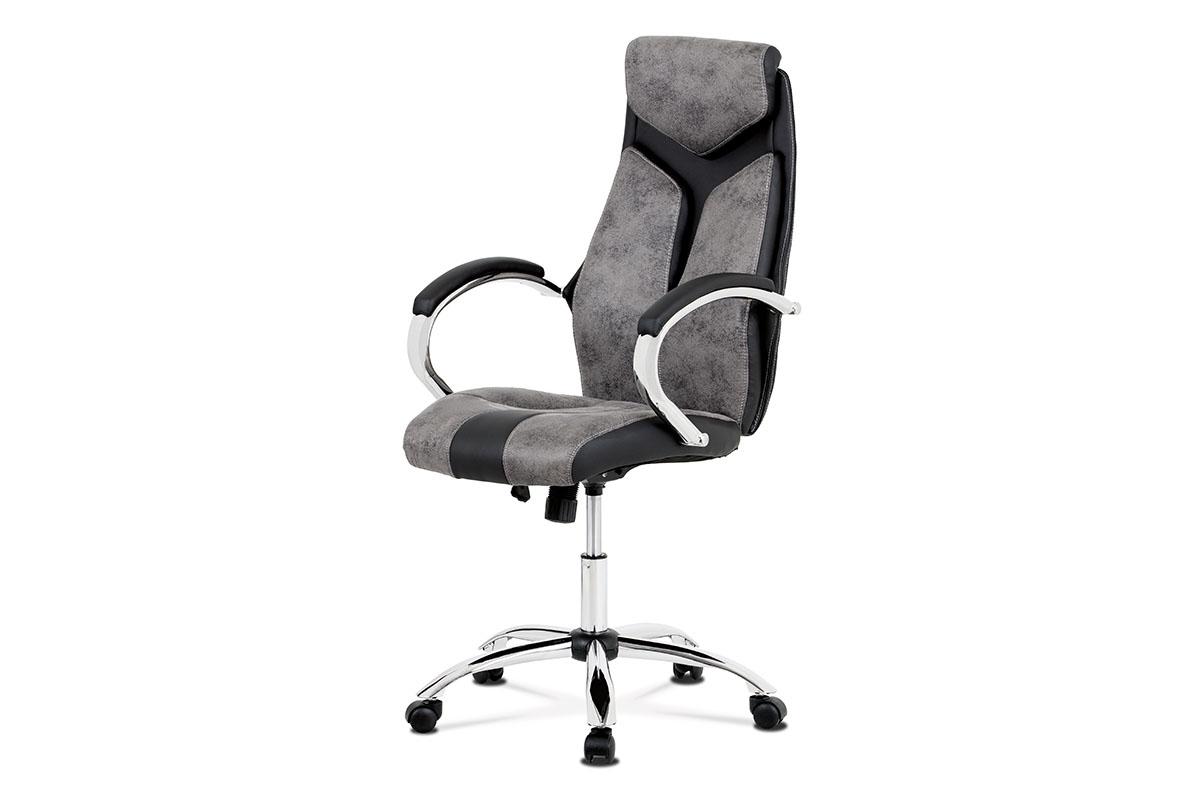 Autronic - Kancelářská židle, látka šedá+ekokůže černá, houpací mech, kovový kříž - KA-N520 GREY