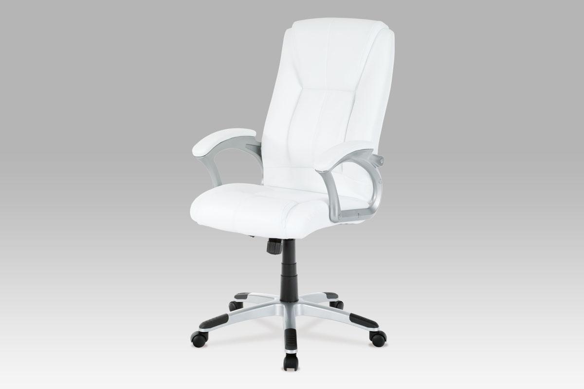 Autronic - Kancelářské křeslo, koženka bílá, plast. kříž,  houpací mech. - KA-N637 WT