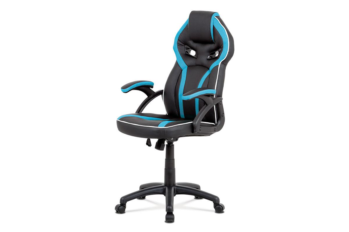 Autronic - Kancelářská židle, černá ekokůže+modrá látka, houpací mech, plast kříž - KA-N662 BLUE