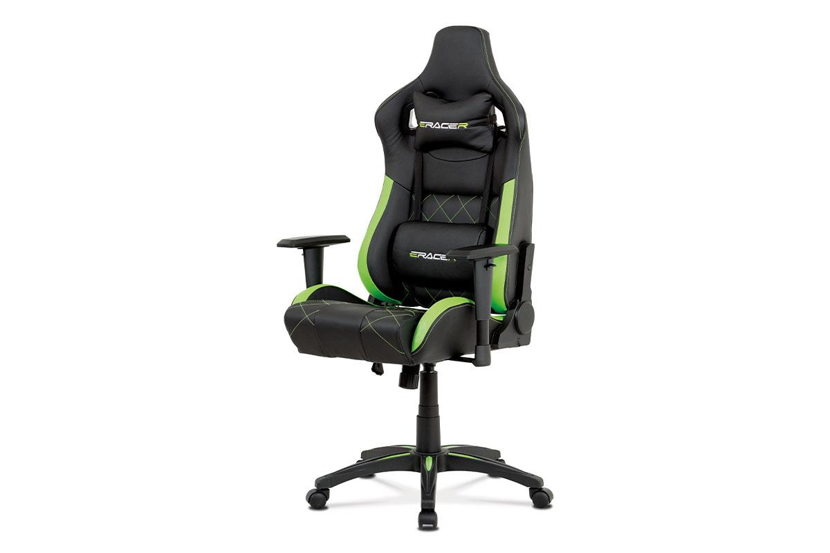 Autronic - Kancelářská židle, černá+zelená ekokůže, houpací mech, plastový kříž - KA-N774 GRN