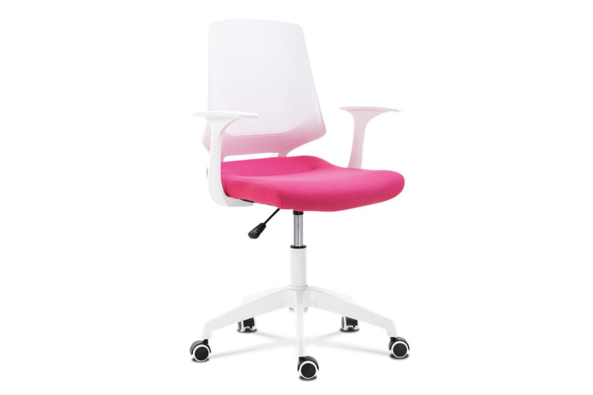 Kancelářská židle, sedák růžová látka, bílý PP plast, výškově nastavitelná