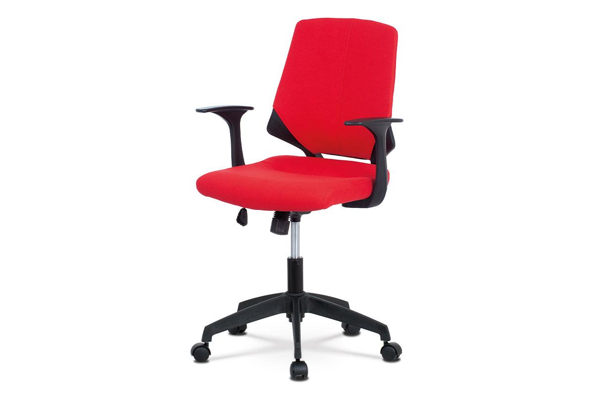Autronic - Juniorská kancelářská židle, potah červená látka, černý plast, houpací mechanismus - KA-R204 RED