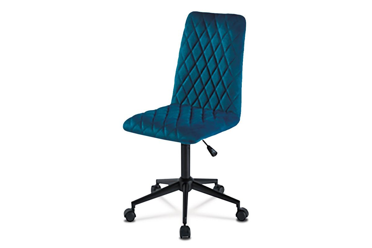 Autronic - Kancelářská židle dětská, potah modrá sametová látka, výškově nastavitelná, černý kovový kříž - KA-T901 BLUE4