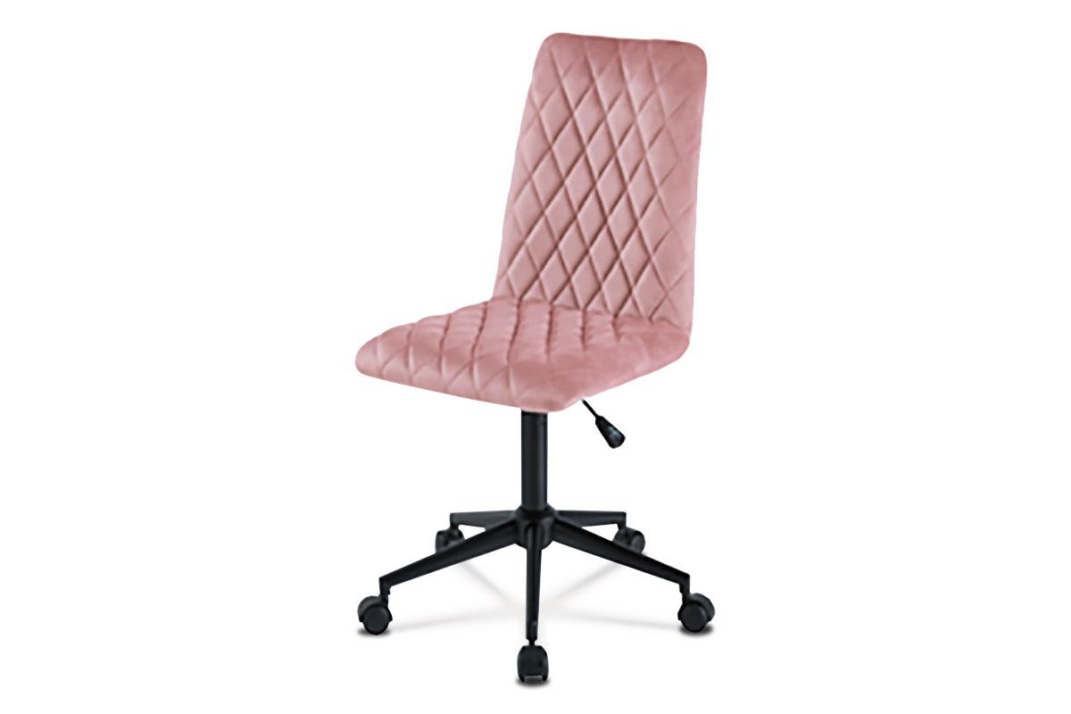 Autronic - Kancelářská židle dětská, potah růžová sametová látka, výškově nastavitelná, černý kovový kříž - KA-T901 PINK4