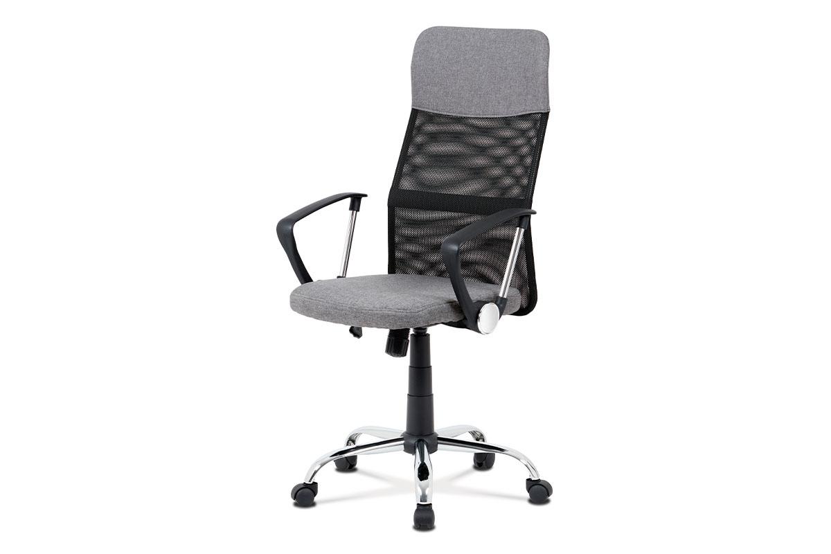 Kancelářská židle, šedá látka, černá MESH, houpací mech, kříž kovový
