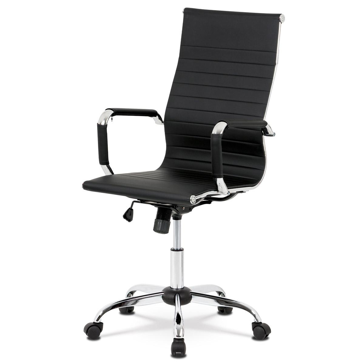 Autronic - Kancelářská židle, černá ekokůže, houpací mech, kříž chrom - KA-V305 BK