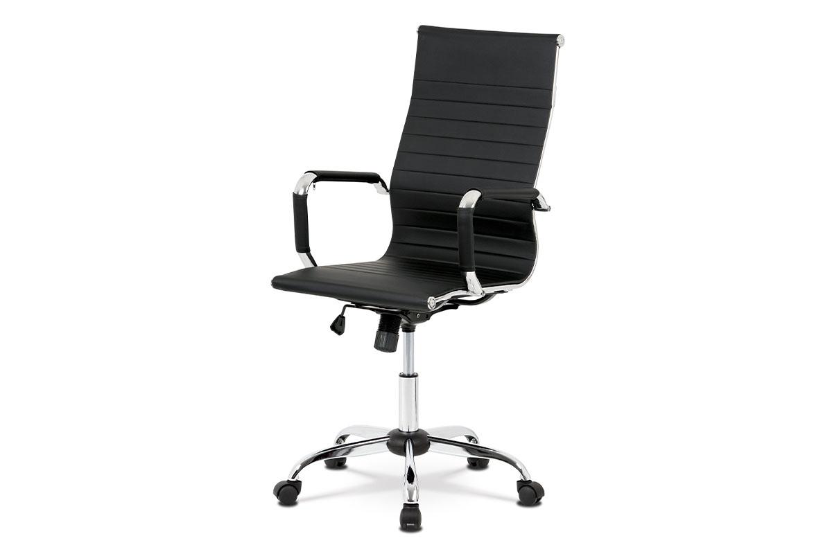 Kancelářská židle, černá ekokůže, houpací mech, kříž chrom