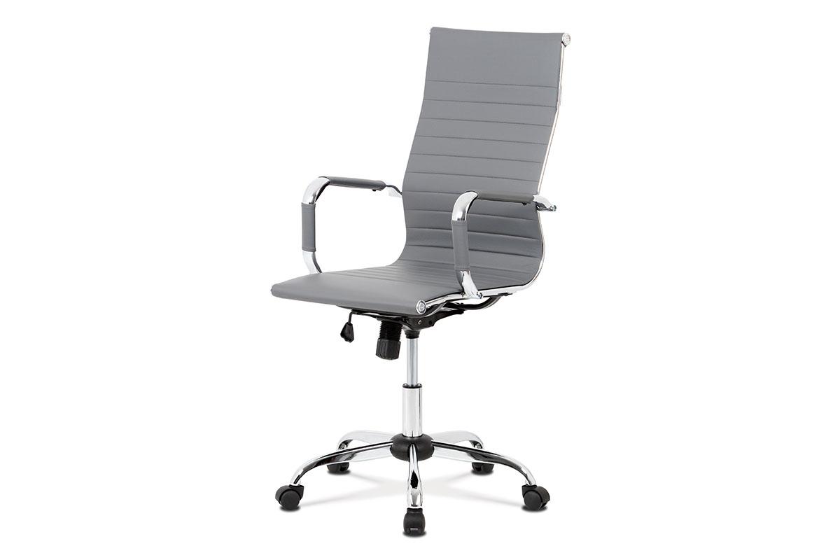 Autronic - Kancelářská židle, šedá ekokůže, houpací mech, kříž chrom - KA-V305 GREY