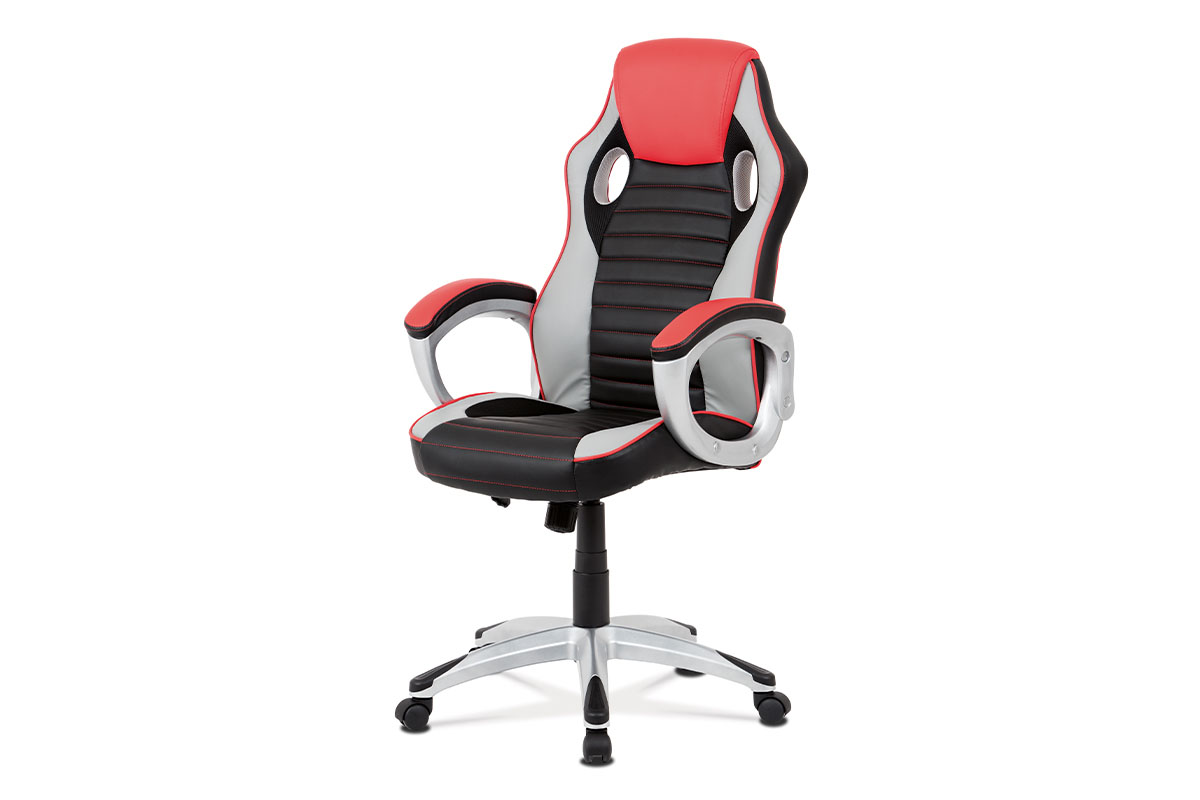 Autronic - Kancelářská židle, červená-černá ekokůže, houpací mech, kříž plast stříbrný - KA-V507 RED