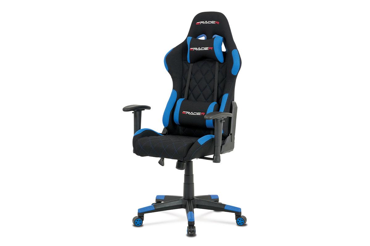 Autronic - Kancelářská židle, modrá látka, houpací mech, kříž plast - KA-V606 BLUE