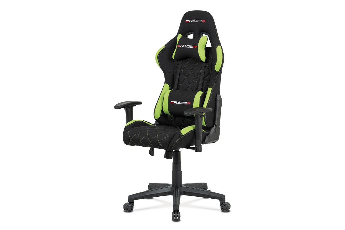 Kancelářská židle, zelená látka, houpací mech, kříž plast