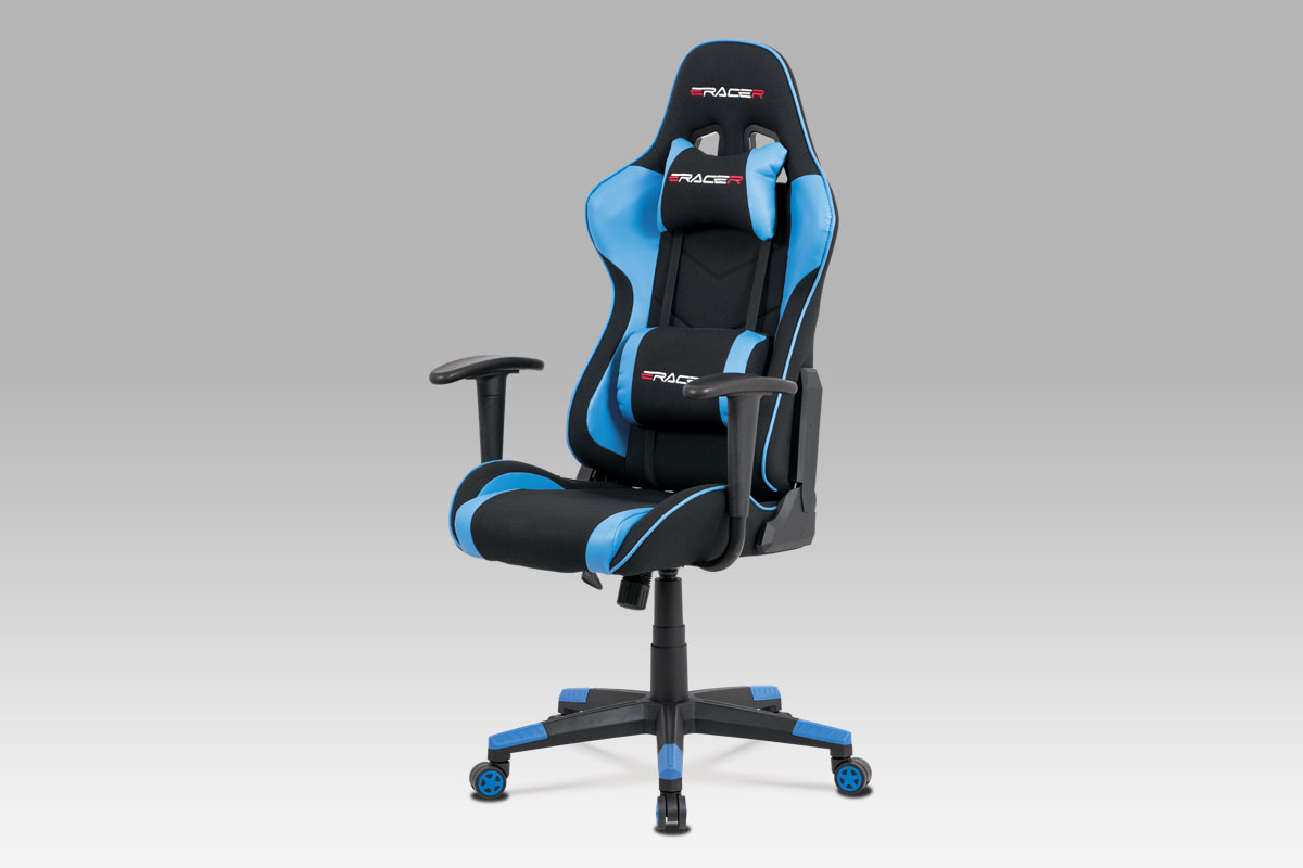 Autronic - Kancelářská židle, modrá ekokůže + černá látka, houpací mech., plastový kříž - KA-V608 BLUE