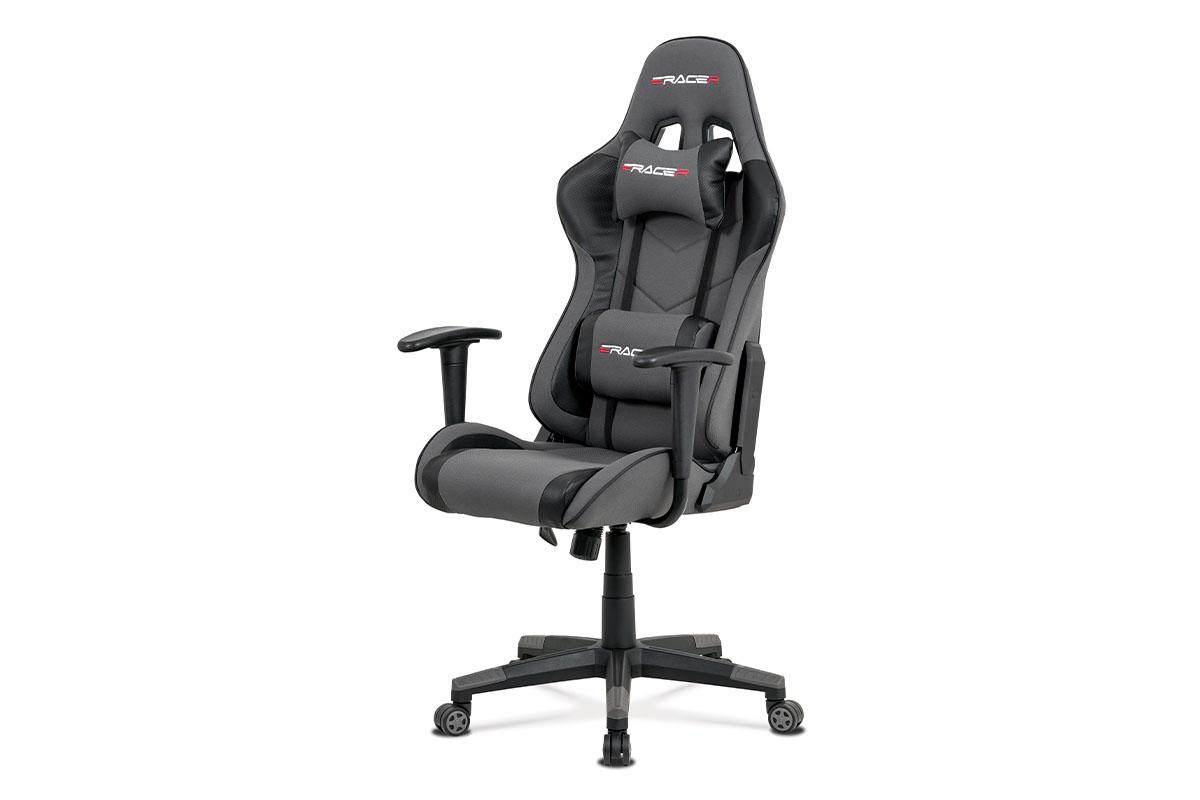 Autronic - Kancelářská židle, šedá látka + černá ekokůže, houpací mech., plastový kříž - KA-V608 GREY