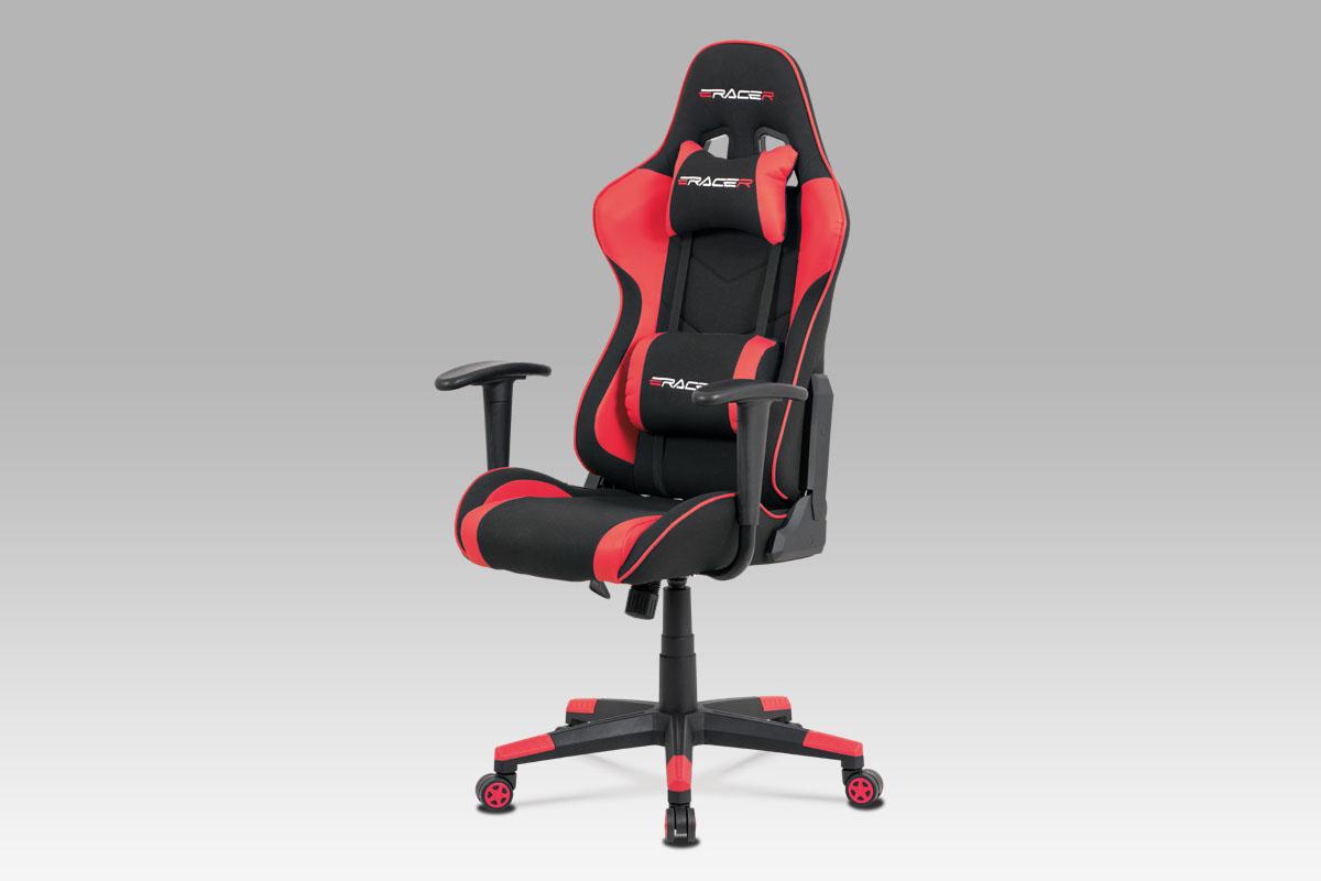 Autronic - Kancelářská židle, červená ekokůže + černá látka, houpací mech., plastový kříž - KA-V608 RED