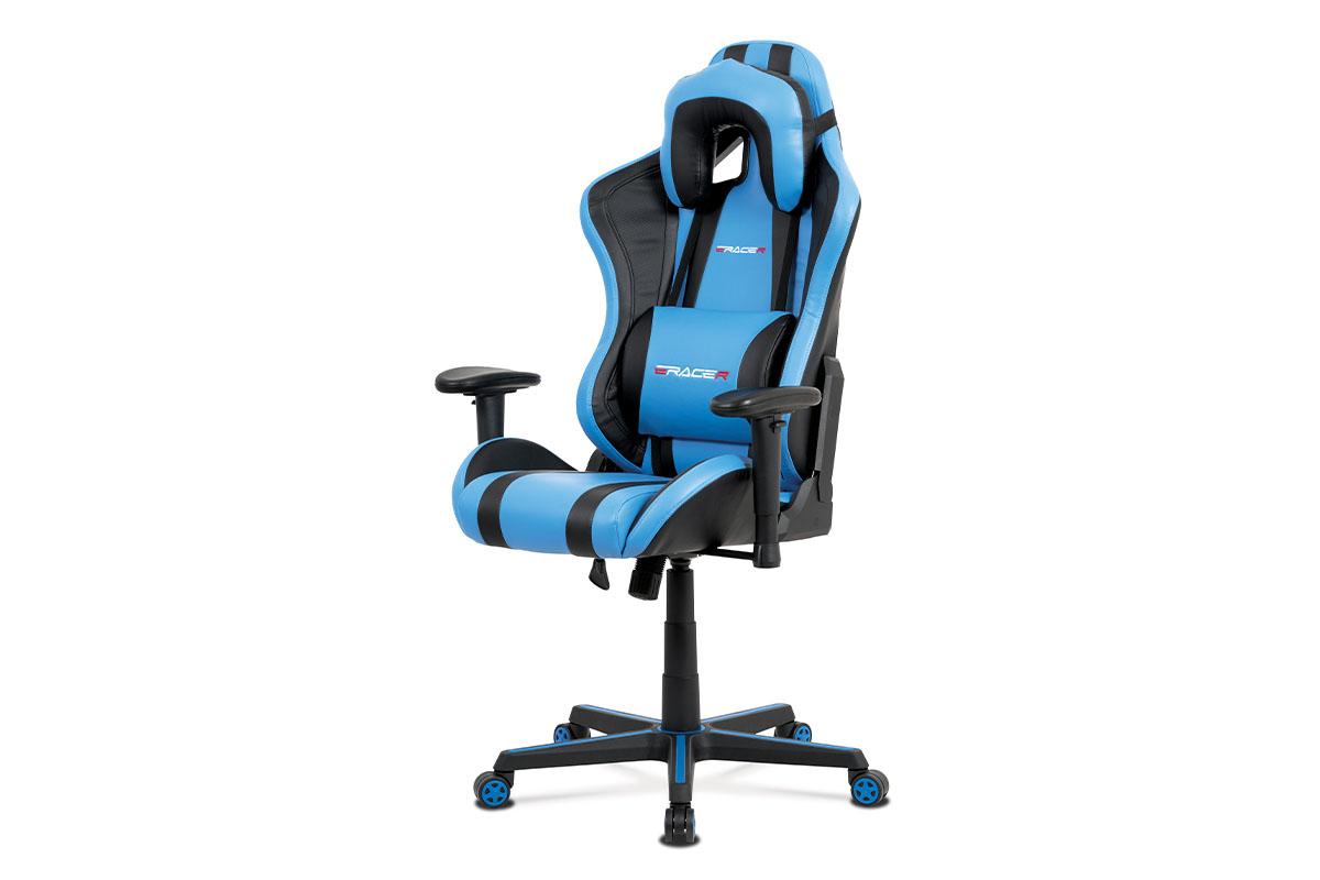 Autronic - Kancelářská židle, modrá+černá ekokůže, houpací mech., plastový kříž - KA-V609 BLUE