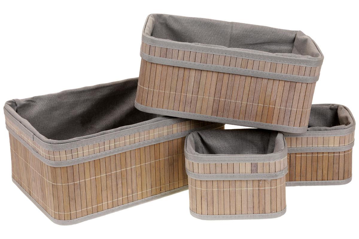 Autronic - Košík regálový z bambusu, sada 4 kusy - KD4408