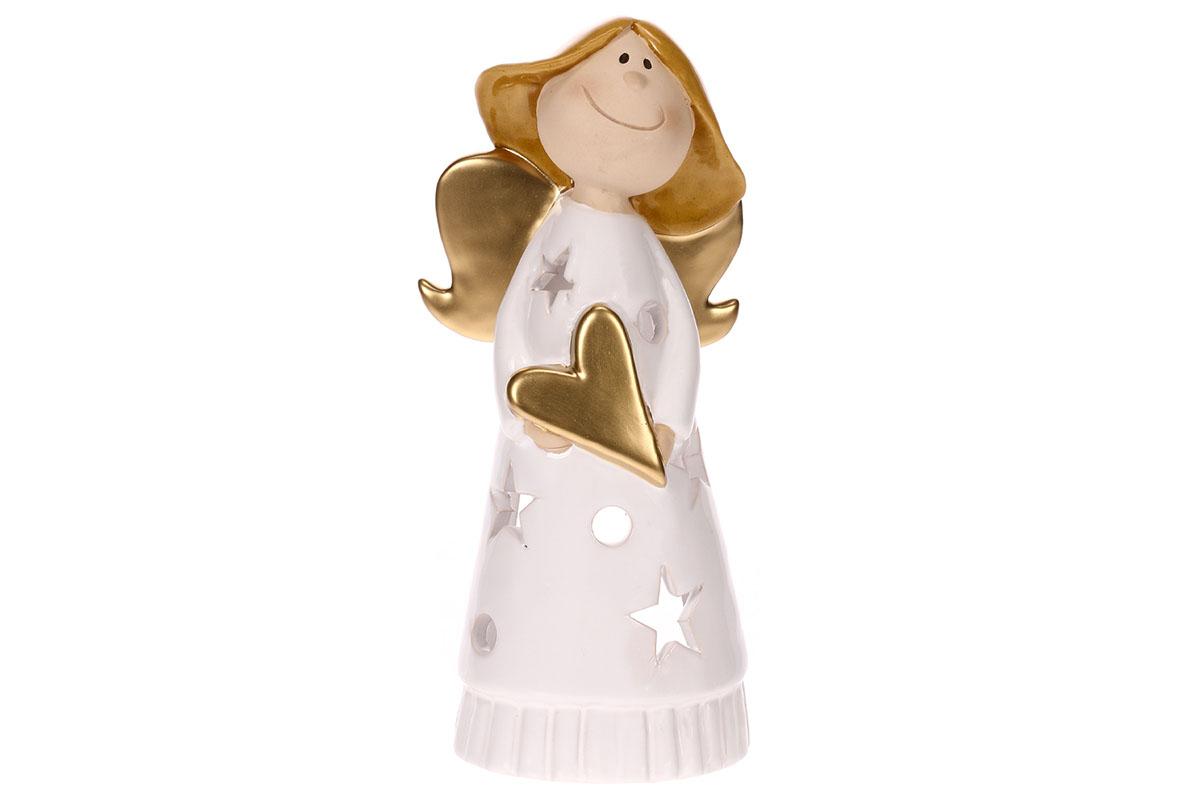 Anděl keramický - svícen na svíčku.