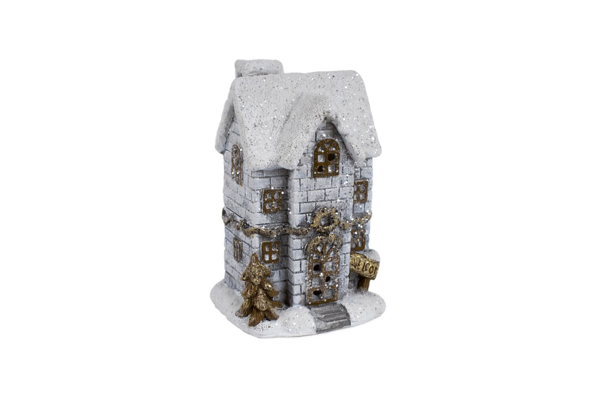 Autronic - Domeček, dekorace z polyresinu, svíticí LED - KER205