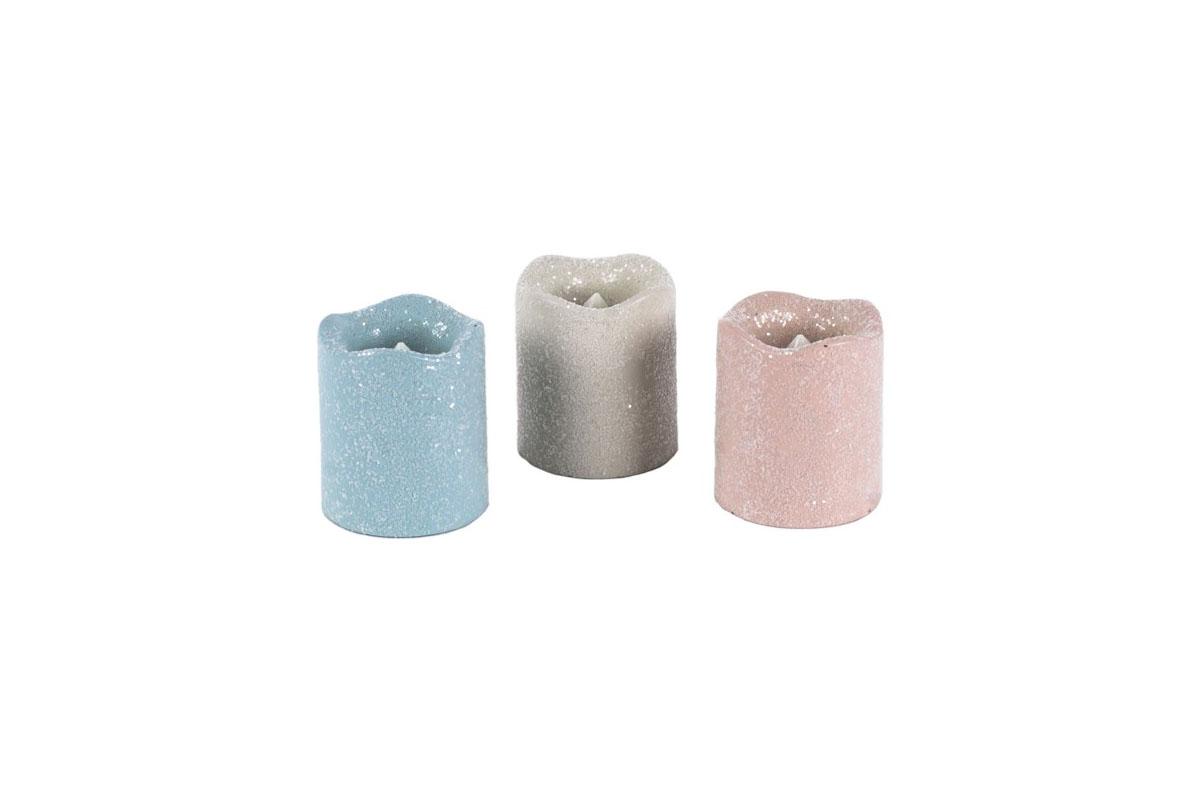 Autronic - Svícen z plastu ve tvaru svíčky, s LED světlem, mix 3 barev s glitry, cena za 1 kus - KER210
