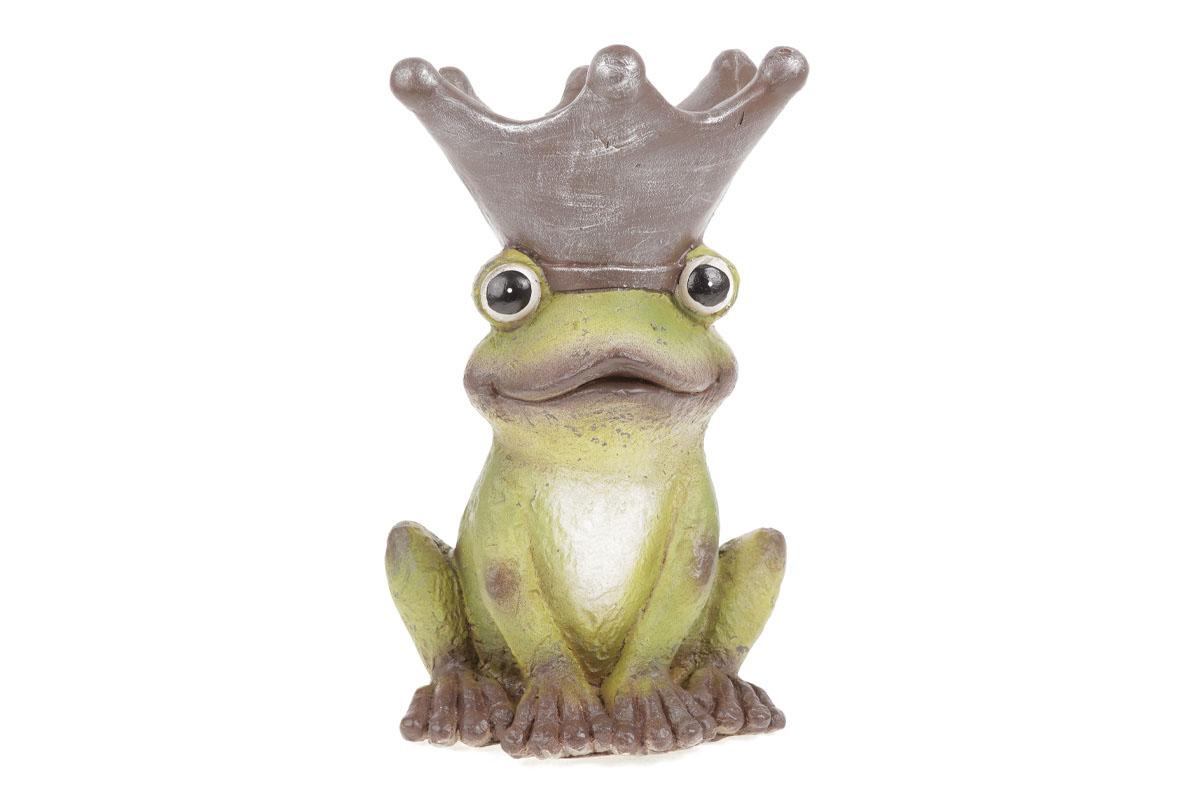 Autronic - Žába s korunkou na hlavě (obal na květiny), zahradní magneziová keramika. - KER322