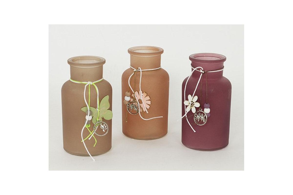 Autronic - Váza, skleněná dekorace, mix tří barev - KLA335