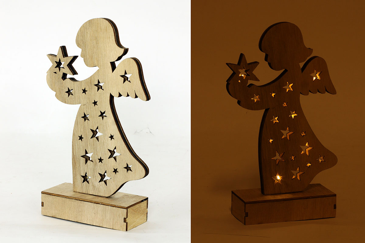 Autronic - Andělíček vánoční dekorační dřevěný svítící - KLA371