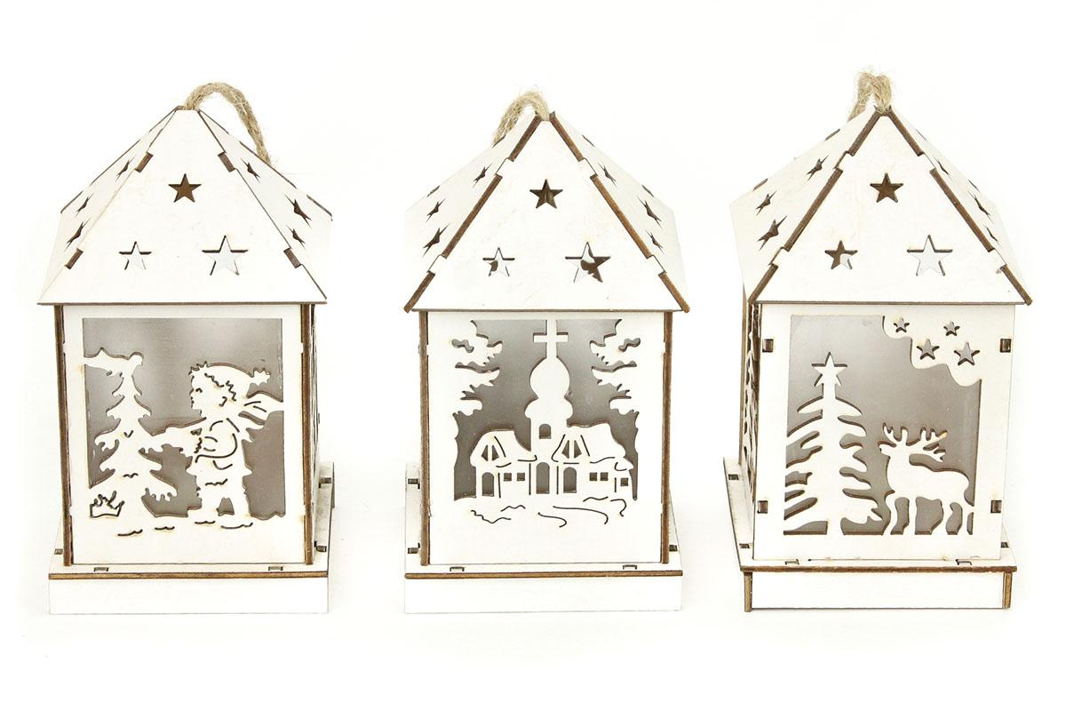 Autronic - Lucernička dřevěná vánoční dekorace , s LED světlem , mix 3 druhů , cena za 1 kus - KLA441