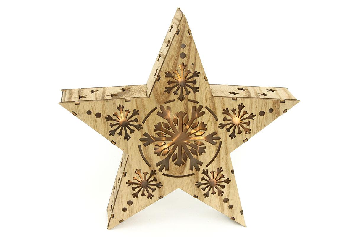 Autronic - Hvězda, vánoční dřevěná dekorace s LED světlem - KLA446