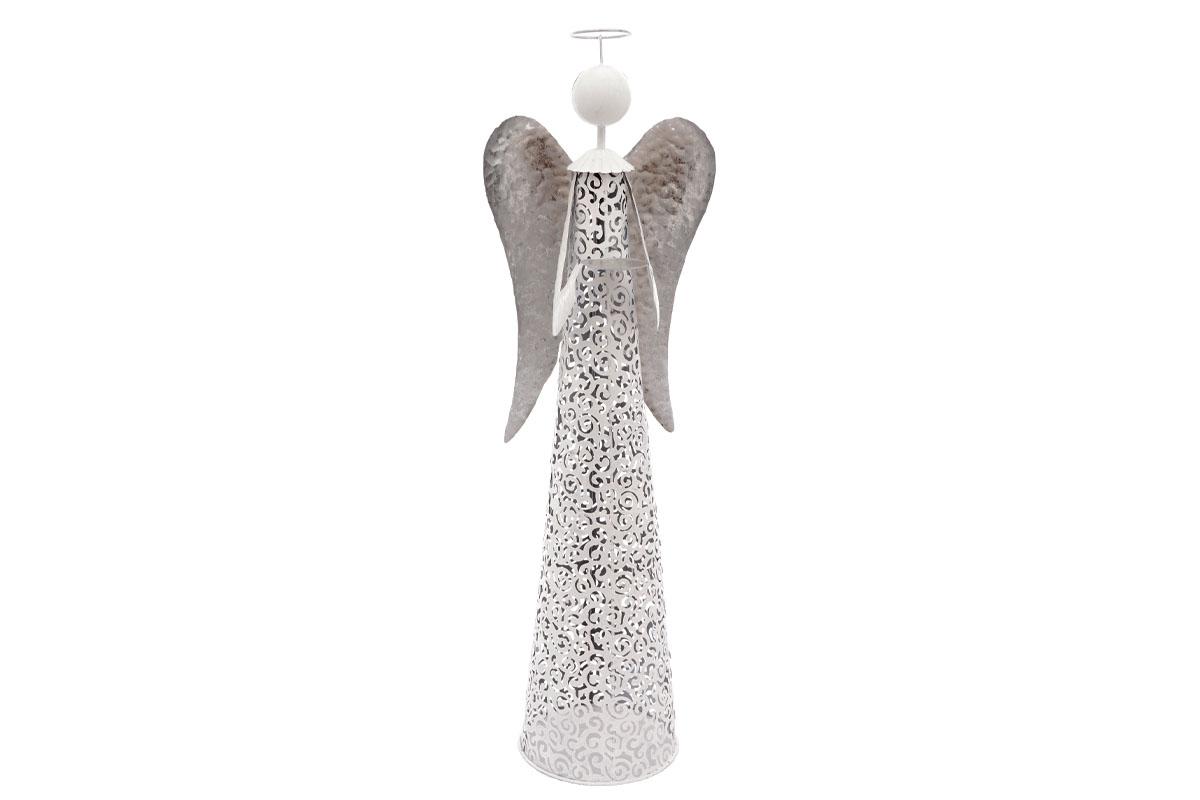 Anděl, kovová dekorace, svícen na čajové svíčky, bílá barva.