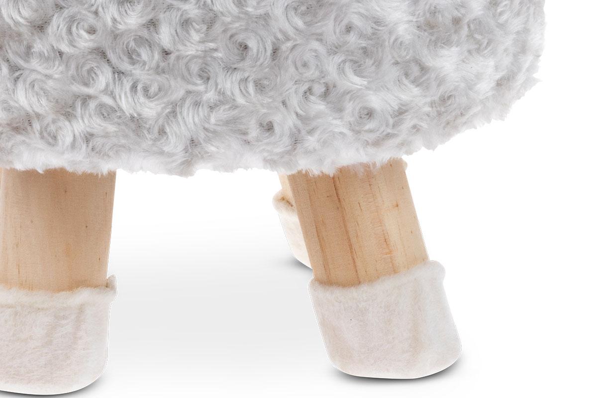 Taburet - beránek, potah šedobílá umělá kožešina a růžový mikroplyš, masivní nohy z kaučukovníku v přírodním odstínu