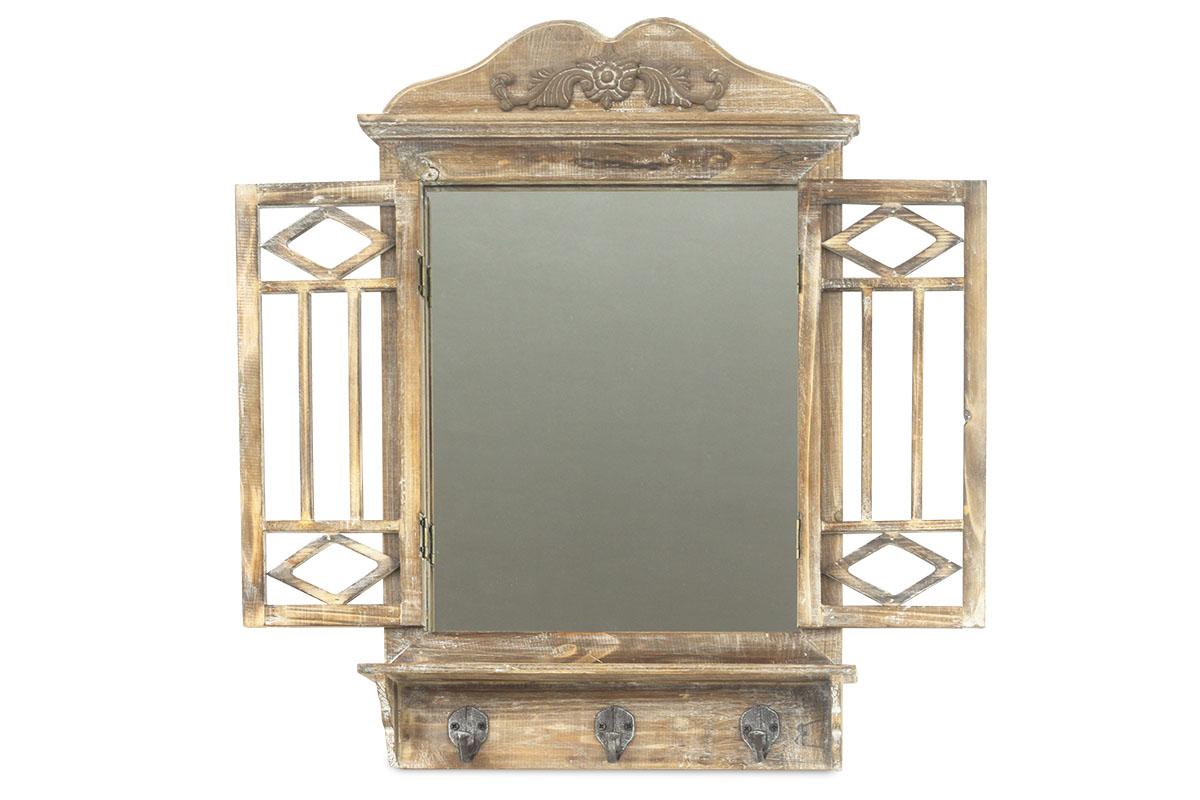 Autronic - Zrcadlo v  dřevěném rámu, tvar okna - LD-0272
