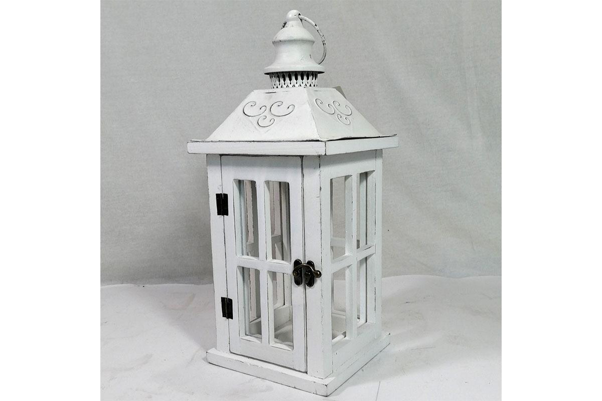 Autronic - Lucerna dřevěná, barva bílá antik - LD-0295