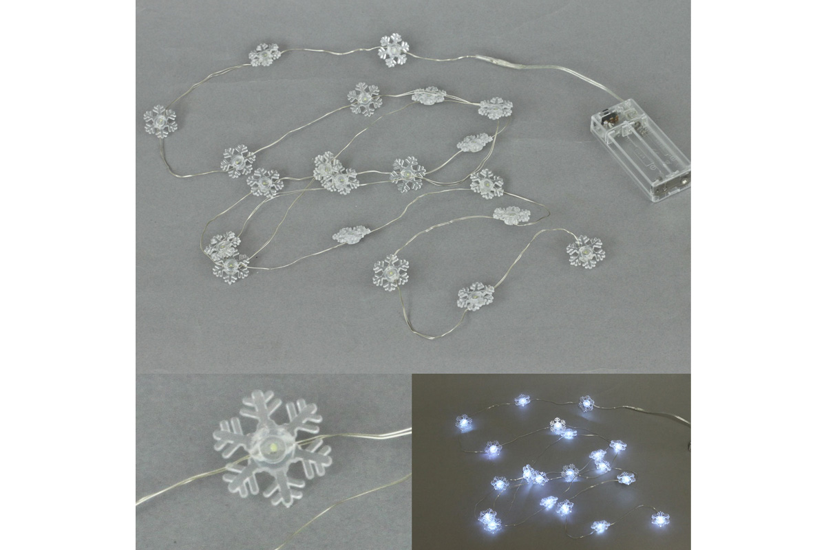 Autronic - Řetěz s LED světýlky na baterie, barva studená bílá - LED877057