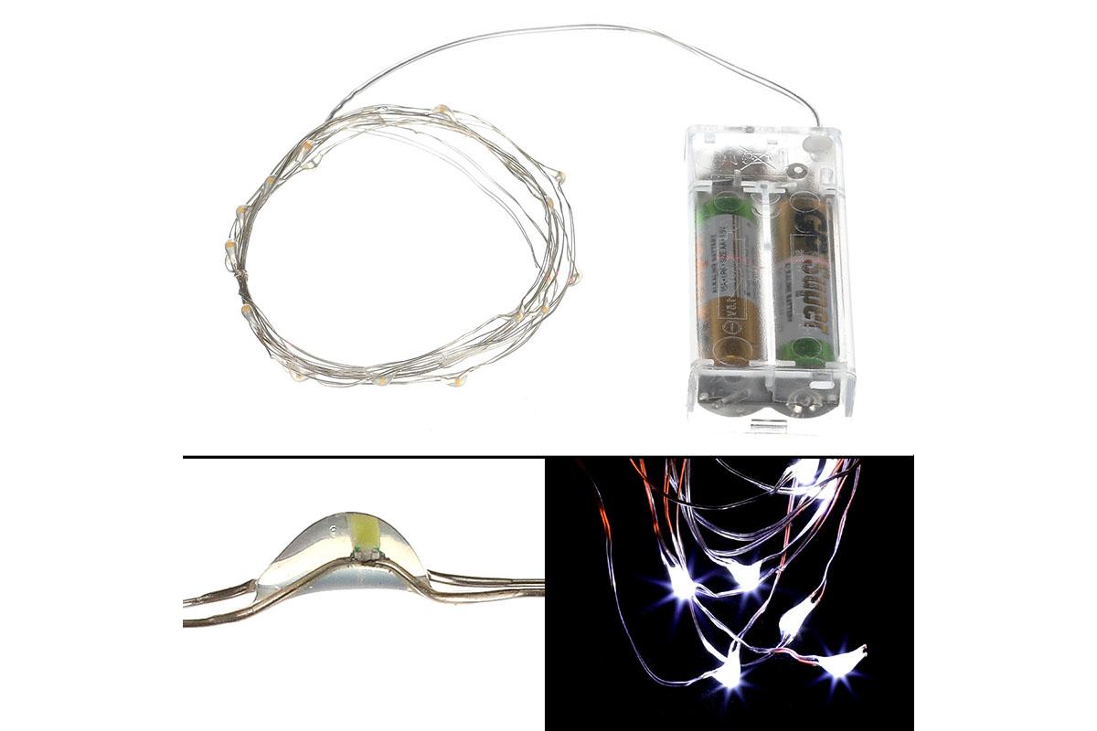Autronic - Řetěz s LED světýlky na baterie barva studená bílá - LED877132
