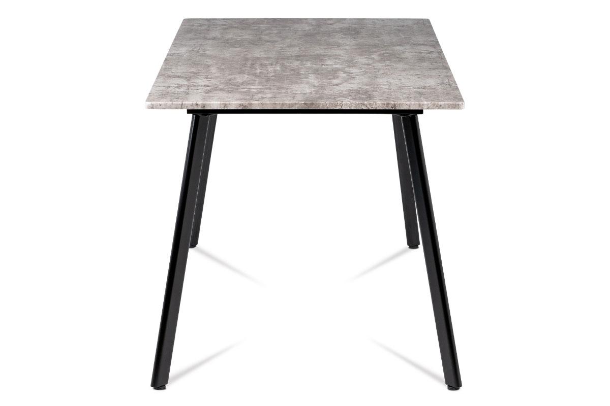 Jídelní stůl 150x80x76 cm, MDF dekor beton, kovová čtyřnohá podnož, černý matný - MDT-2100 BET