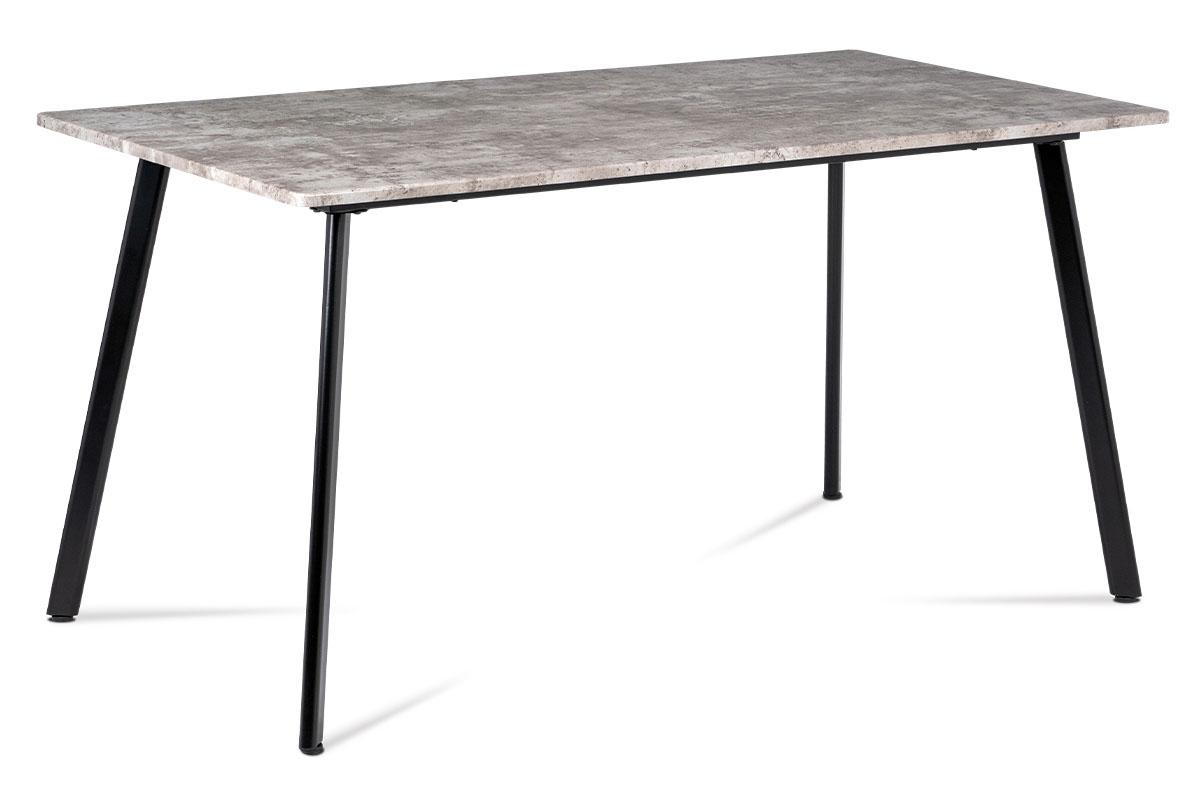Autronic - Jídelní stůl 150x80x76 cm, MDF dekor beton, kovová čtyřnohá podnož, černý matný lak - MDT-2100 BET