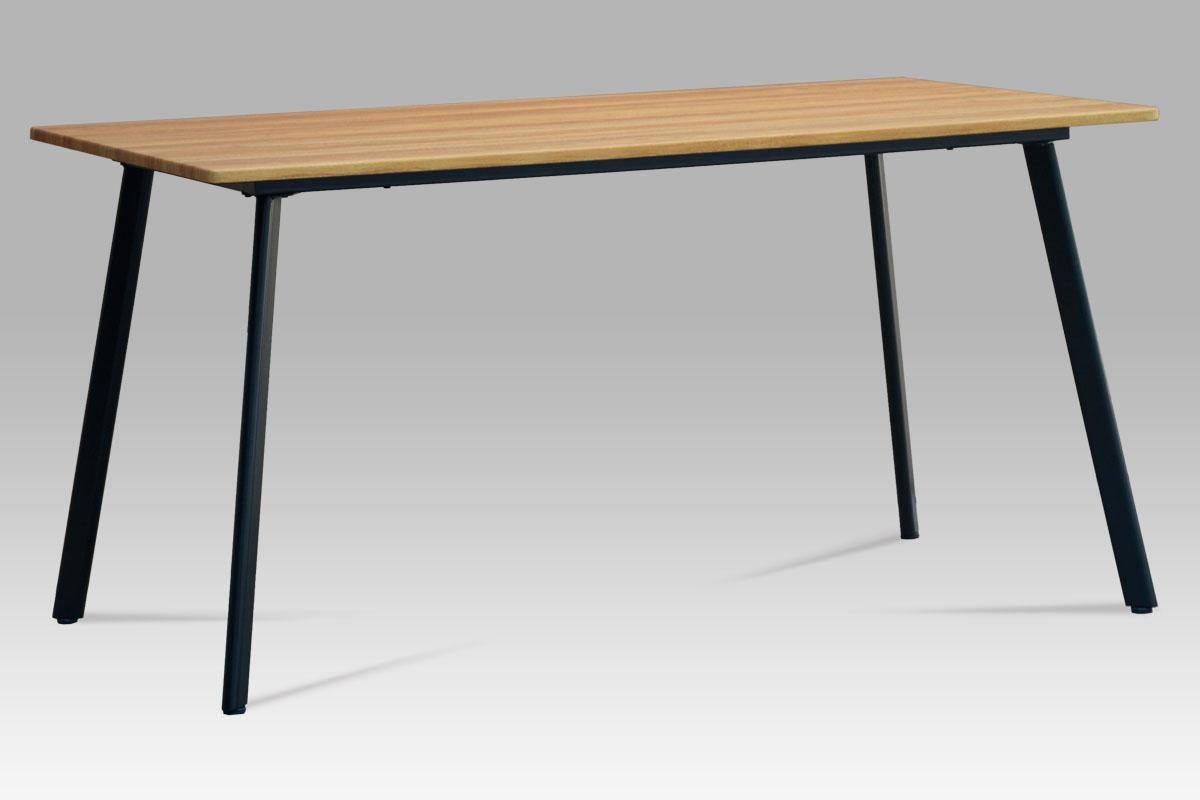 Autronic - Jídelní stůl 150x80x76, MDF divoký dub, kov matná černá - MDT-2100 OAK