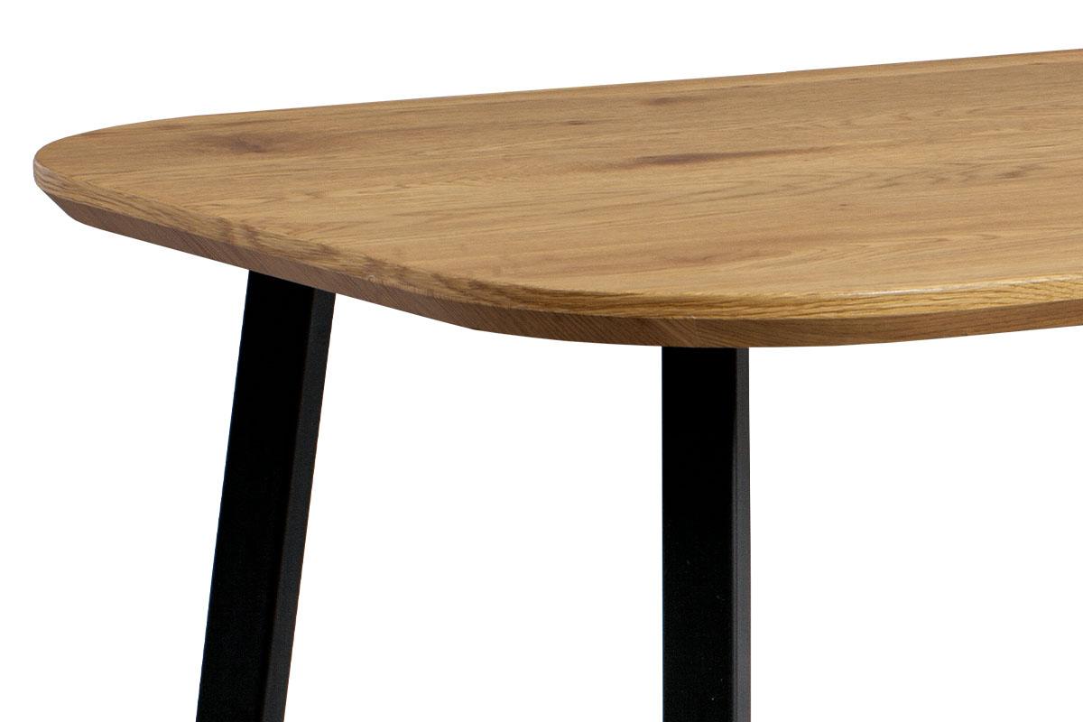 Jídelní stůl, MDF deska 3D dekor dub, kov černá barva - MDT-600 OAK